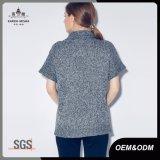 頭巾の首の女性のための開いたニットの短い袖セーター