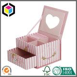Rectángulo rígido del chocolate del regalo del papel de la cartulina de la dimensión de una variable del corazón con la ventana