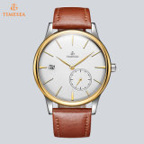 La cinghia di cuoio di marca della cassa di acciaio inossidabile di modo guarda l'orologio automatico 72737 del Mens