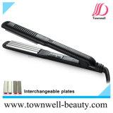 Encrespador de cabelo profissional com as placas permutáveis de prata Nano de Coreia