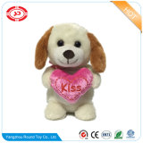 Pink Heart Kiss Mignon Standing Peluche Soft Dog Animal Toy