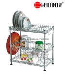 Estante de secagem de prato de cozinha cromada ajustável cromada patenteada, rack de chapa