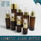Bottiglia ambrata all'ingrosso della lozione del corpo di vetro con la pompa