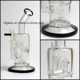 Hfy Glasgroßverkauf2017 neuestes Toro doppeltes Mikroc$hexagon-hexagon rauchendes Wasser-Rohr-Fabrik-Trinkwasserbrunnen-Rohr-Huka-Glasschwarzes