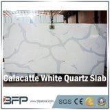 Слябы камня кварца Calacatta естественного взгляда белые мраморный