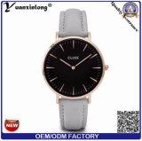 La marca de fábrica de encargo del cuero genuino de la manera de los relojes de Yxl-233 Cluse mira el reloj de los hombres de negocios de las señoras