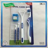 Familien-Gebrauch-zahnmedizinischer oraler Sorgfalt-Installationssatz-Zahnbürste-Zunge-Reinigungsmittel-Installationssatz
