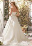 Vestido de casamento traseiro longo dianteiro curto assimétrico do querido Ivory da correia