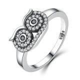 De echte Ring van de Vinger van de Uil van 100% 925 Echte Zilveren Duidelijke CZ Leuke Stapelbare