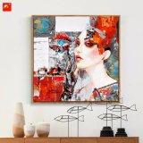 Pittura a olio Tonal rossa della donna di modo