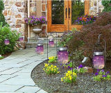 Luz solar da conservação de energia no frasco de pedreiro para a decoração da jarda