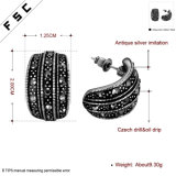 Elegant Antique Silver Beautiful Round Stud Earring pour fille