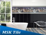 100X300mm schwarzer Glanz-keramische glasig-glänzende Wand-Fliese