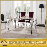 De hete Reeks van de Lijst van Furnituredining van de Eetkamer van het Frame van het Roestvrij staal van de Verkoop Marmeren Hoogste