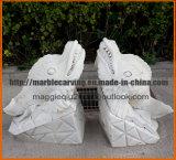 Белая мраморный статуя акулы высекая Ma1706