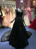 Un vestido de noche de la línea/de princesa Black Lace para la boda