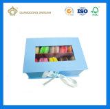 Rectángulo de empaquetado del regalo de lujo de Macaron (caja de embalaje del macaron rígido de la cartulina con la ventana)