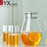 ステンレス鋼のシリコーンの移行上のふた、熱いおよび冷水の水差し、茶またはコーヒーメーカーのゆとりの側面のハンドルおよびふたが付いているガラス水差しが付いているガラスの滴り自由なCarafe