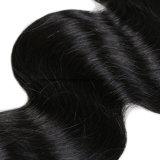 Onda peruana ondulada do corpo do Weave do cabelo do Virgin da cor preta