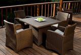 Mobilia esterna del patio del giardino del rattan del PE che pranza insieme