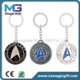Heißes Verkaufs-runde Form Soem Keychain mit dem Silber beendet