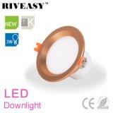 3W éclairage d'or DEL Downlight de projecteur de gestionnaire Integrated de 2.5 pouces