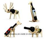 Étalage en bois de Tableau de porte-bouteilles de crémaillère de vin de contre-plaqué animal de cru