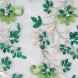 Merletto chimico viola della mano del tessuto del ricamo del merletto bordato
