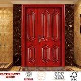 Puerta grande de madera sólida de la entrada residencial de Fornt pequeña (GSP1-013)