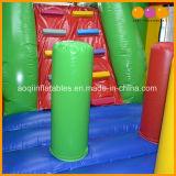 Buntes Überbrückungsdraht-Plättchen-aufblasbares Schloss kombiniert für Kinder (AQ719)