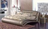 Новая шикарная кровать неподдельной кожи пинка мебели спальни (HC556)