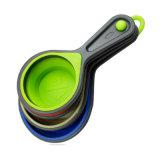 4 pedazos de cucharas dosificadoras/de cucharas dosificadoras Setspoon del silicón plegable de gran tamaño