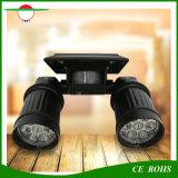 Do projector solar duplo ajustável do sensor do diodo emissor de luz Montion da cabeça do ângulo luz ao ar livre psta solar da parede para a garagem da porta