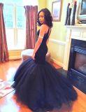 , Kleidet Nixe-Abend-Kleid-Tulle-Korn-geschwollener schwarzer Abschlussball E20172