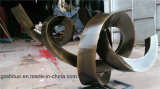 Courbe spiralée, sculpture en bronze de cuivre extérieure