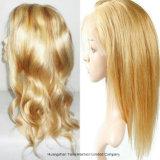 613# Glueless großes Schutzkappen-schwarze Frauen-brasilianisches Haar-volle Spitze