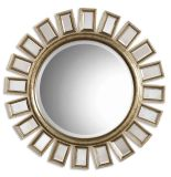 熱い販売のハンドメイドの円形木は壁によって斜角を付けられた装飾的なミラーを組み立てた