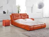 King Size couro branco francês de madeira cinzelado antigo cama francesa Couro Bed