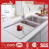 Edelstahl-Oberseite-Montierungs-Doppelt-Filterglocke-handgemachte Küche-Wanne des Zoll-21X40 mit Abfluss-Vorstand