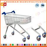 Hoher Winkel-Draht-Metallsupermarkt-Einkaufen-Karren-Laufkatze (ZHt256)