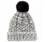 Tampão de chapéu de gola de manga comprida de malha de costura para menina com POM POM Top