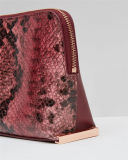 熱い販売法の方法ヘビPUの革女性化粧品袋