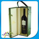Rectángulo de cuero de empaquetado de madera de la botella de vino con la maneta y el bloqueo
