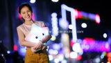電池式の装飾的な点滅LEDの軽いプラシ天の微笑の星のクッション