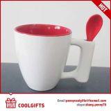 Tasse de café en céramique de publicité colorée de grès avec la cuillère et le logo