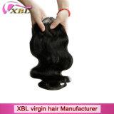 Закрытие верхней части шнурка перуанских человеческих волос девственницы естественное черное