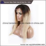 브라질 숙녀 사람의 모발 2 색깔 레이스 정면 가발