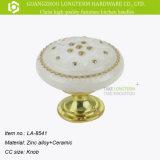 Perilla de cerámica impresa flor clásica de los muebles