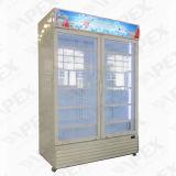 Vertikales Glas, das doppelte Tür-Getränkekühlvorrichtung schiebt