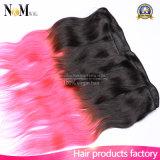 Пачки волос волос 100% бразильские Ombre Weave красного тона волос 2 бразильские